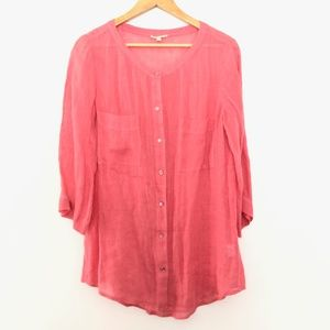 Eileen Fisher Button Front Linen Blouse Small